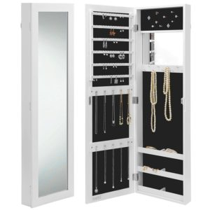 Beautify Mirrored Wall Mount Jewelry Armoire